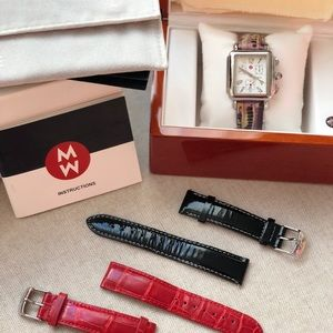 Michele Deco watch w/ three leather bands